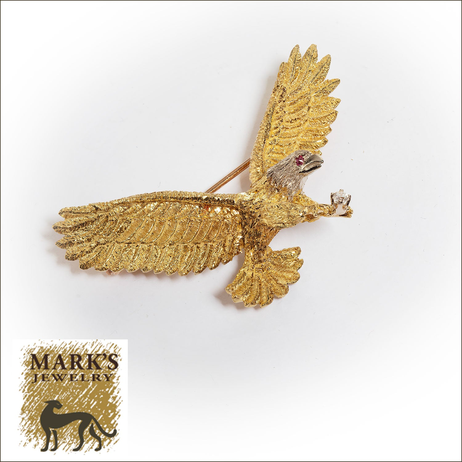 18K Ruby & Diamond Eagle Pin