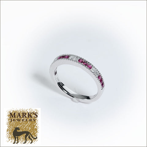 09144 14K White Gold Diamond & Ruby Band