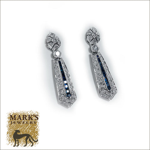 08937 Estate 14K White Gold Sapphire and Diamond Dangle Drop Earrings