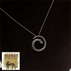 14K White Gold 18 inch Diamond Swirl Necklace