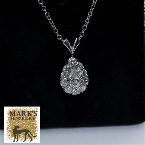 "08934 14K White Gold 17"" 1.20 cttw Diamond Pear Shaped Necklace"