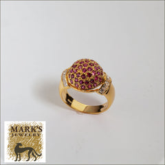 02393 18K Yellow Gold Domed Ruby and Diamond Ring