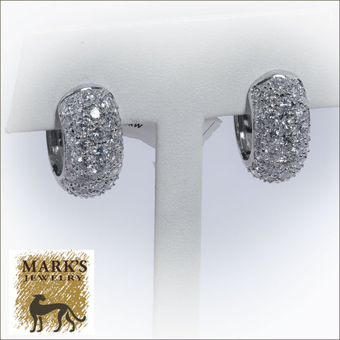 07558 18K White Gold 4.35 cttw Pavé Diamond Huggie Earrings