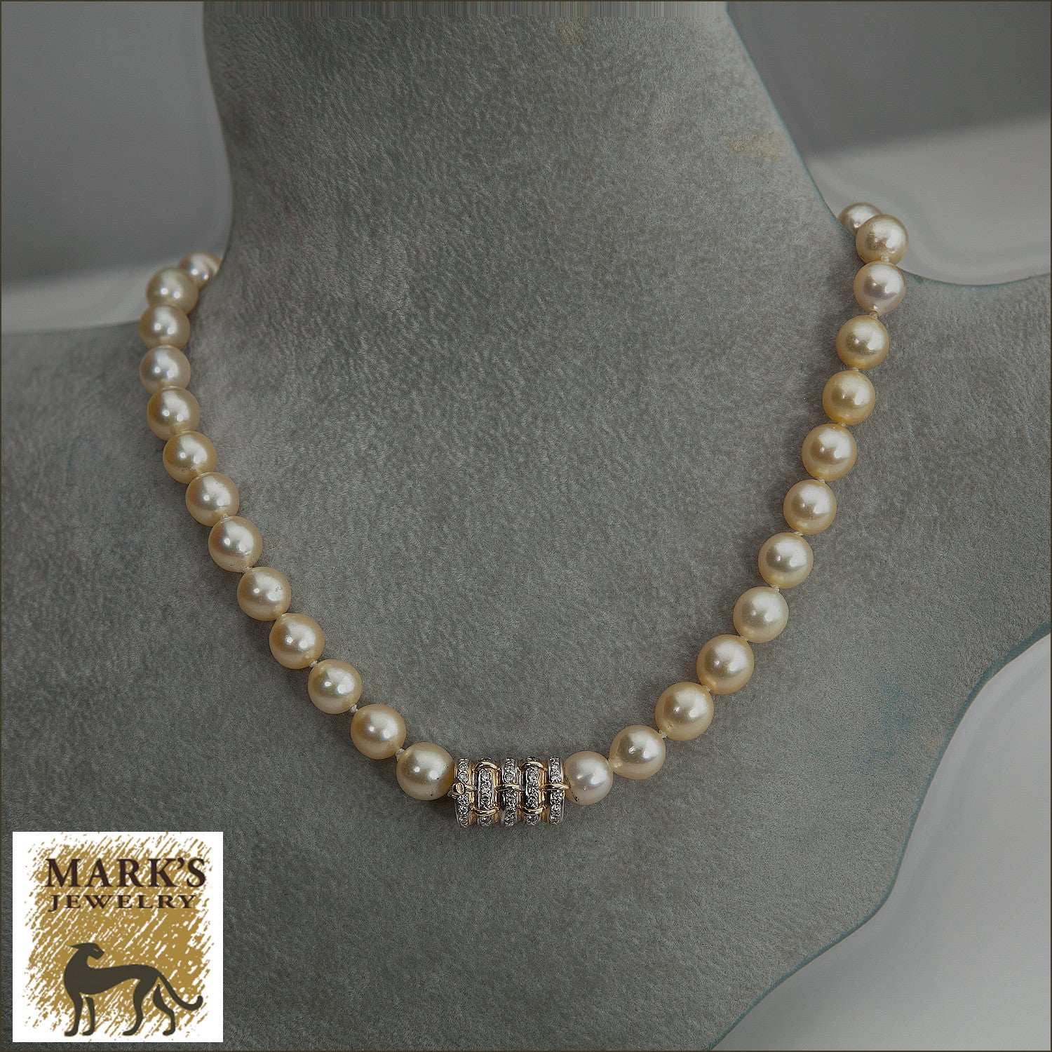 Golden Pearl Necklace with Diamond Clasp