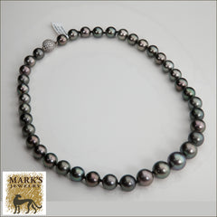 Black Tahitian Pearl Necklace with Diamond Ball Clasp