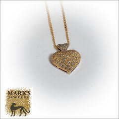 "14K Two-Tone 18"" Diamond Heart Necklace"