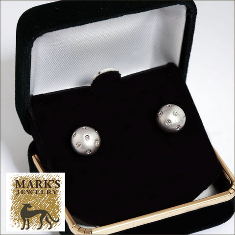 02785 14K White Gold Diamond Ball Stud Earrings