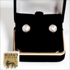 14K White Gold Diamond Ball Stud Earrings