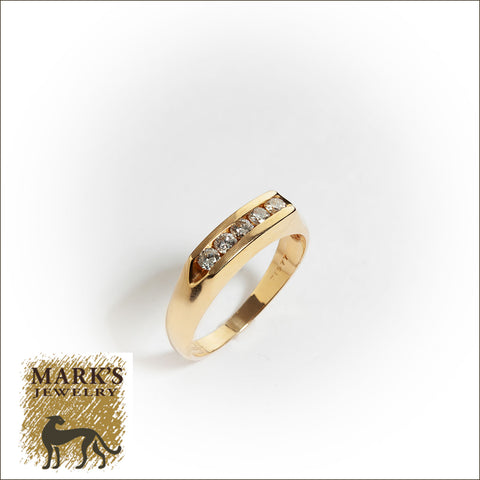 04287 Estate 14K Yellow Gold Diamond Men's Band