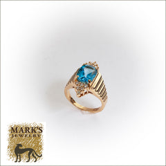 14K Yellow Gold Swiss Blue Topaz and Diamond Ring