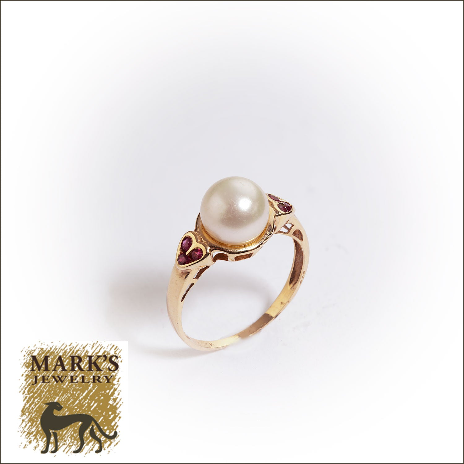 Estate 14K Yellow Gold Pearl and Ruby Ring