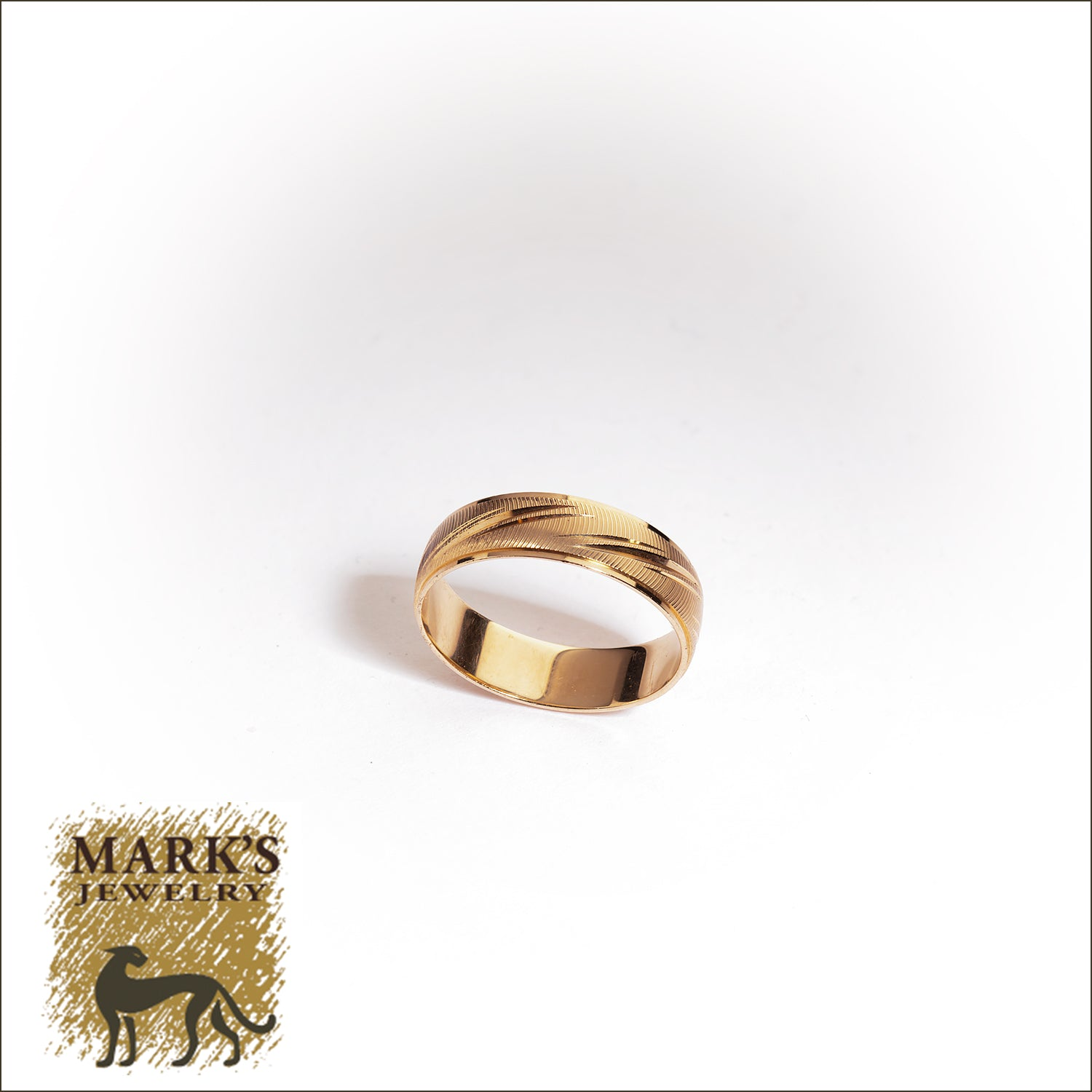 Estate 14K Yellow Gold Men's Wedding Band, 6mm wide