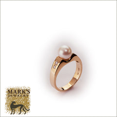 Estate 14K Yellow Gold Pearl and Diamond Ring