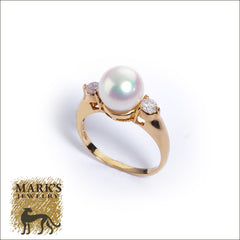 18K Yellow Gold Pearl and Diamond Ring