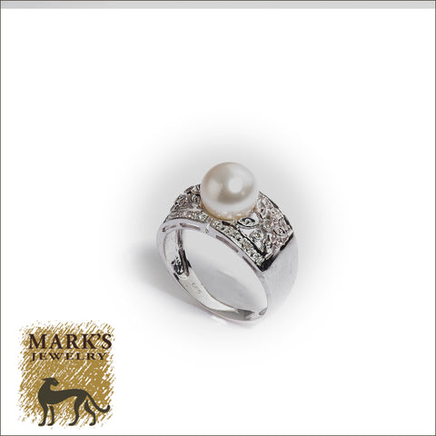 05689 14K White Gold Pearl and Diamond Wide Band Ring