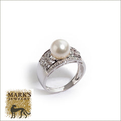 14K White Gold Pearl and Diamond Wide Band Ring