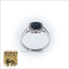 14K White Gold Sapphire and Diamond Cluster Ring