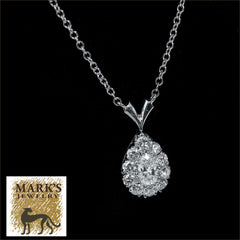 "14K White Gold 17"" 1.20 cttw Diamond Pear Shaped Necklace"