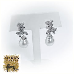 18K White Gold Grey Tahitian Pearl and Diamond Drop Earrings