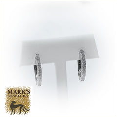 14K White Gold Diamond Oval Hoops