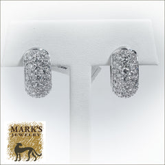 18K White Gold 4.35 cttw Pavé Diamond Huggie Earrings
