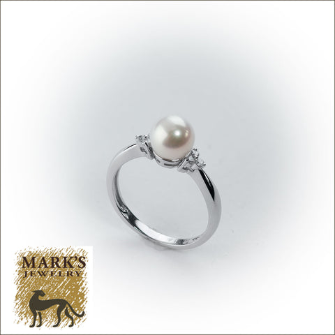 09014 14K White Gold Freshwater Pearl and Diamond Ring