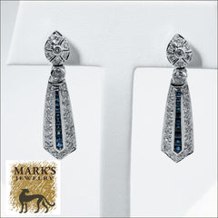 Estate 14K White Gold Dangle Drop Earrings,1.50 cttw Square cut Sapphires,1.50 cttw Round SI / H Diamonds