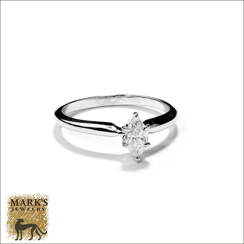 * 03840 Estate 14K White Gold 0.33ct Marquise Diamond Ring