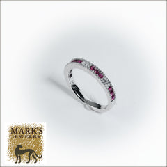 14K White Gold Diamond and Ruby Band,  12 rubies 0.35cttw , 6 diamonds 0.19cttw