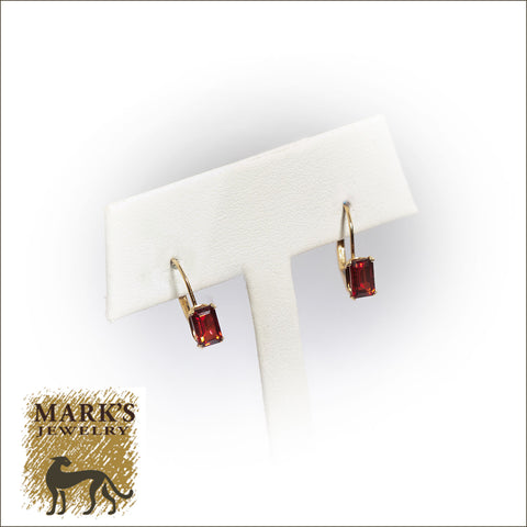 09163 14K Yellow Gold Garnet Earrings