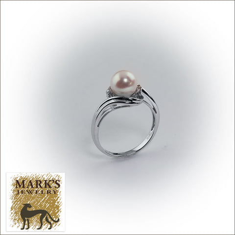 09013 14K White Gold Freshwater Pearl and Diamond Ring