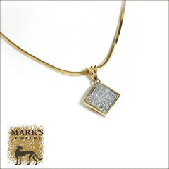 "Estate 14K Yellow Gold 16"" 1.25 cttw Princess Cut Diamond Necklace"