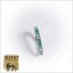 14K White Gold Diamond and Emerald Band,  12 Emeralds 0.35cttw , 6 Diamonds 0.19cttw