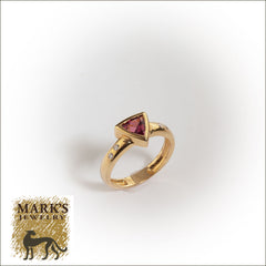 14K Yellow Gold Pink Tourmaline Ring