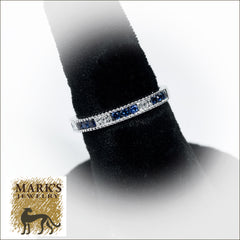 14K White Gold Diamond and Sapphire Band,  12 sapphires 0.35cttw , 6 diamonds 0.19cttw
