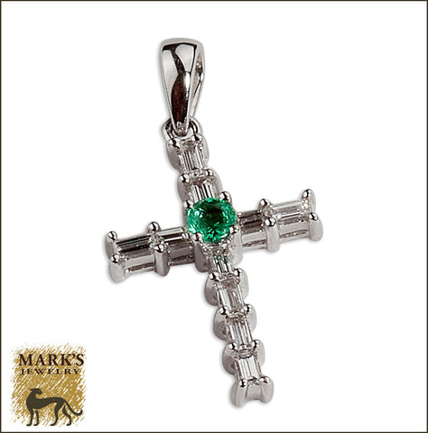* 05001 Emerald and Diamond Cross Pendant 18K white