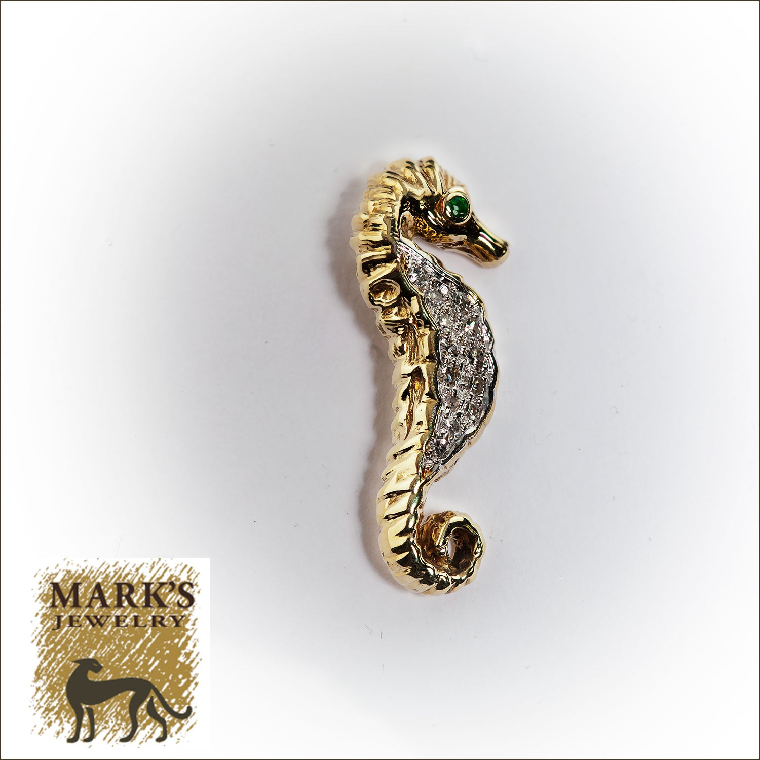 Estate 14K Yellow Gold Emerald and Diamond Seahorse Pendant