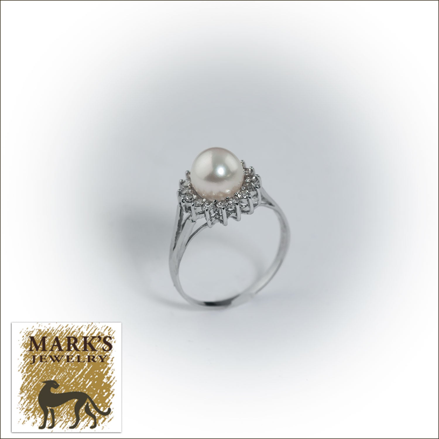 14K White Gold Akoya Pearl and Diamond Ring