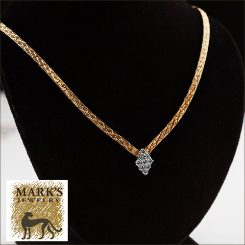 "09161 Estate 14K Yellow Gold 16"" Diamond Cluster Necklace"