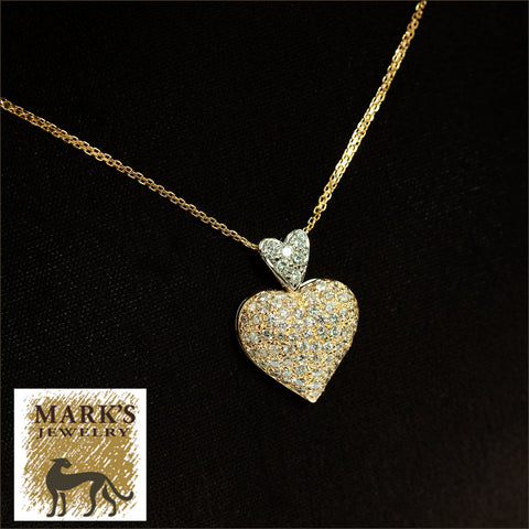 "04378 14K Two-Tone 18"" Diamond Heart Necklace"