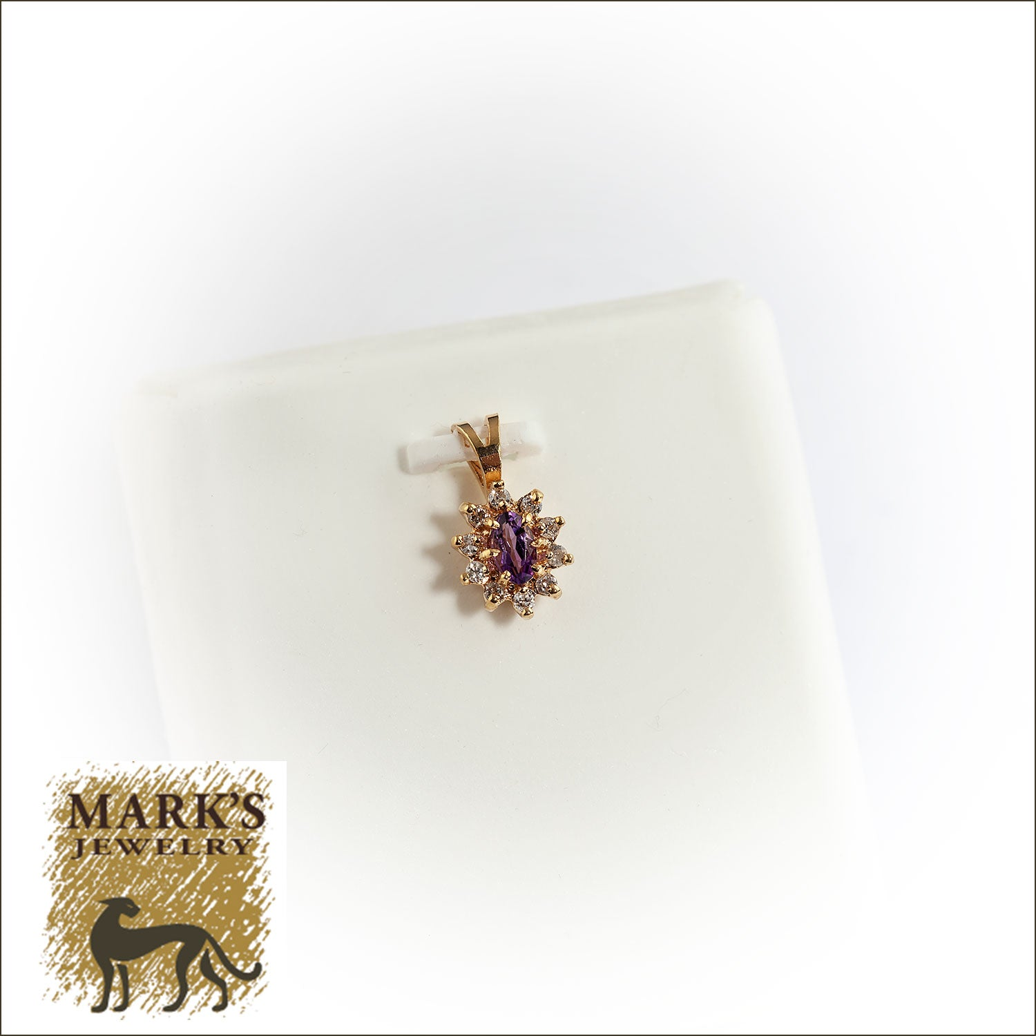 Estate 14K Yellow Gold Amethyst and Diamond Pendant