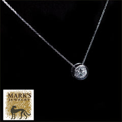 Estate 14K White Gold Diamond Bezel Pendant