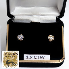 14K 1.91 cttw Round Diamond Stud Earrings