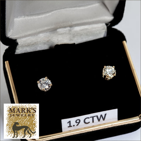 05978/07740 14K 1.91 cttw Round Diamond Stud Earrings