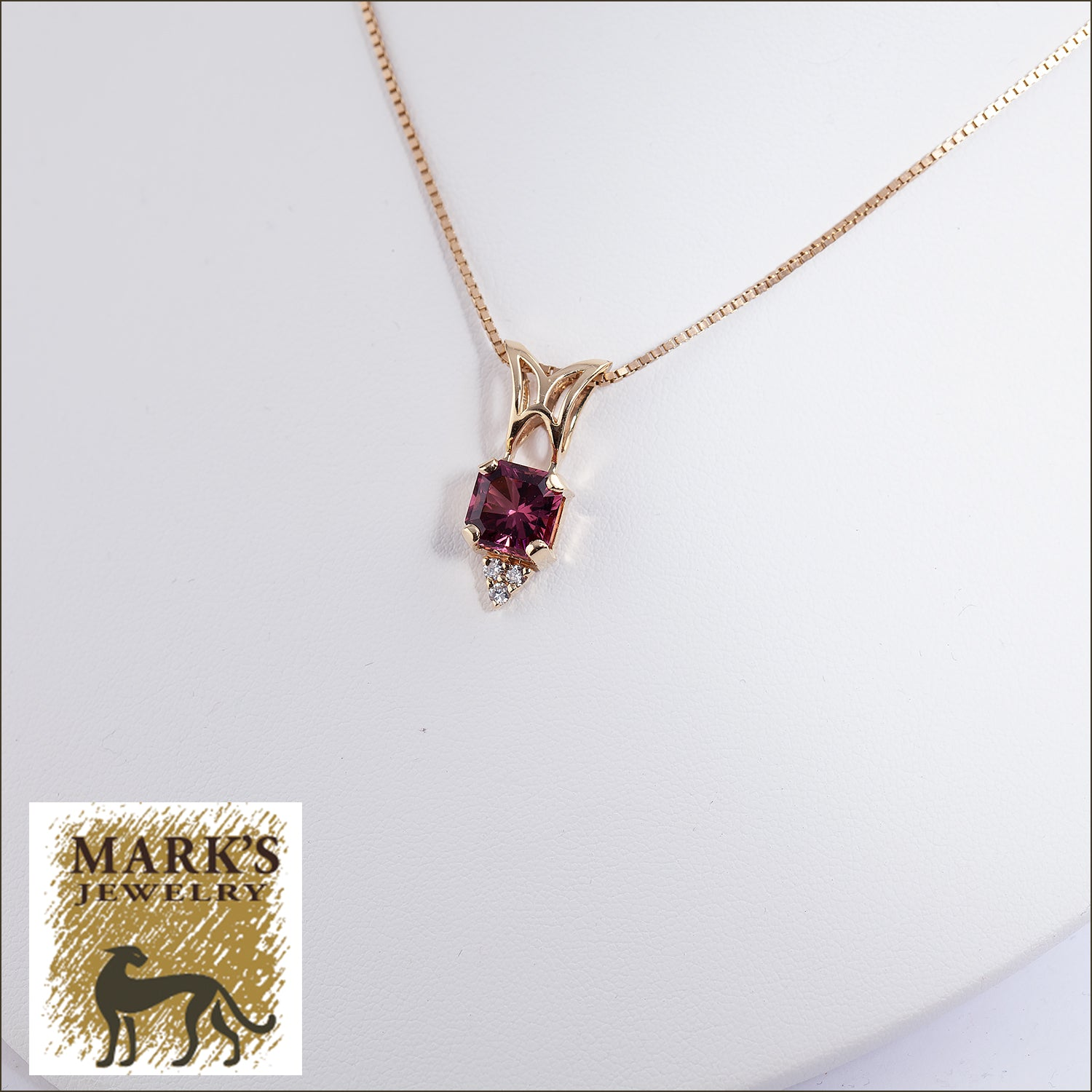 14K Yellow Gold Pink Tourmaline and Diamond Pendant