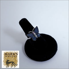 18K White Gold and  Blue Sapphires Butterfly Ring