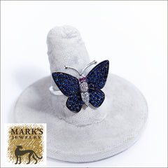 18K White Gold and Blue Sapphires Butterfly Ring with Sapphire Eyes