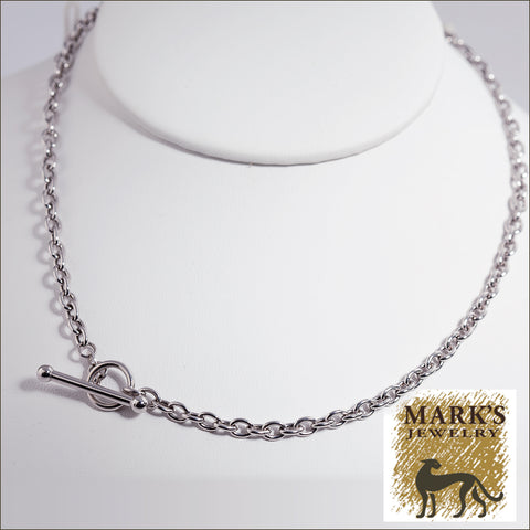 "05759 14K White Gold 17"" Toggle Cable Necklace"