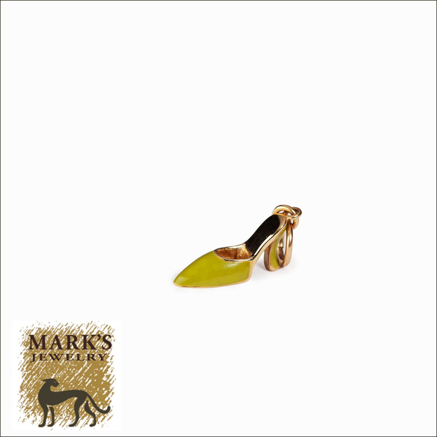14K Yellow Gold Green Enamel Shoe Charm