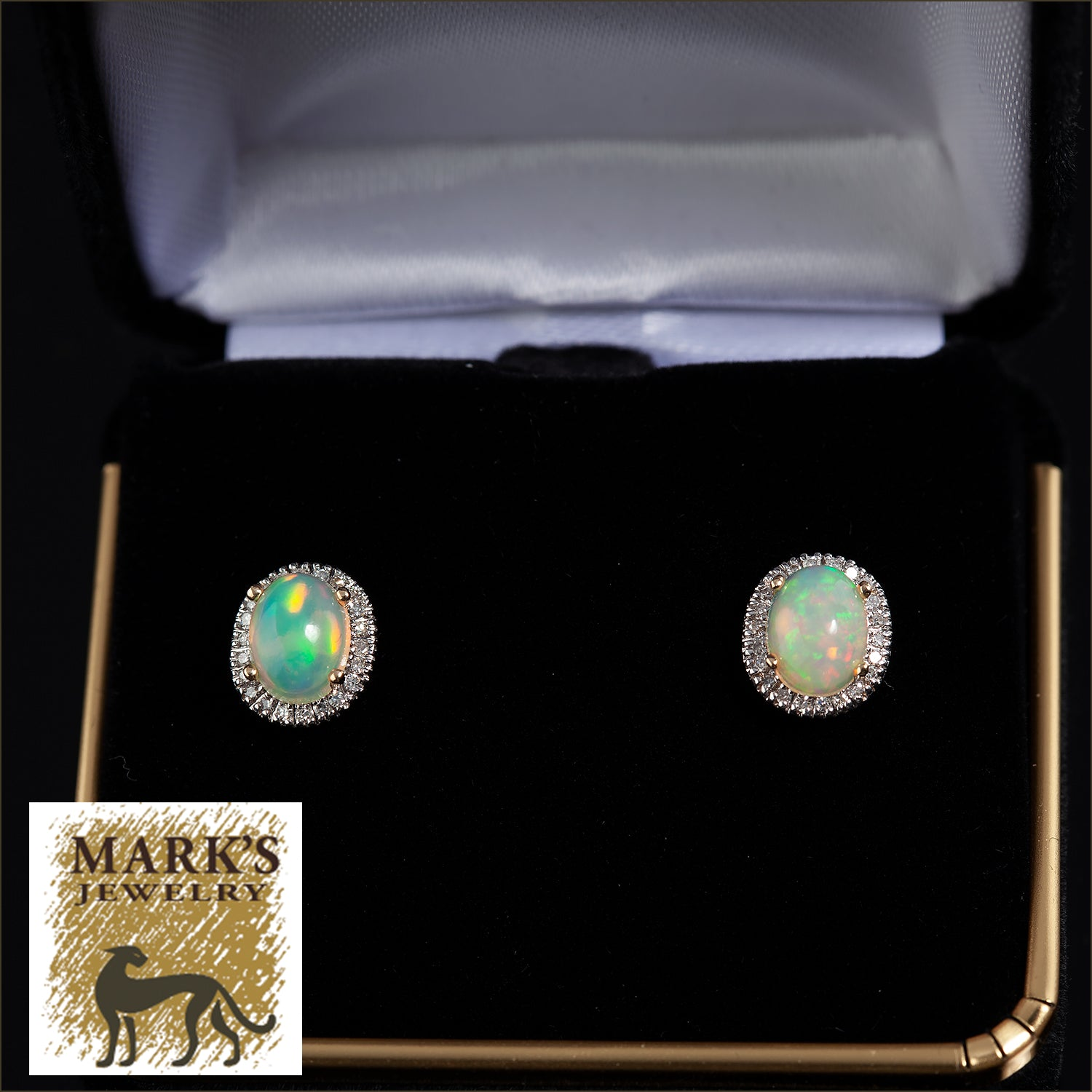 Estate 14K Yellow Gold Opal and Diamond Stud Earrings  ~ 8x6 mm Oval Opals  ~ 1/3 cttw single cut Diamond halo
